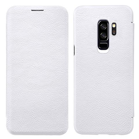 Handytasche Stand Schutzhülle Leder L01 für Samsung Galaxy S9 Plus Weiß