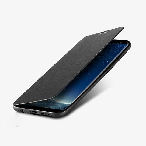 Handytasche Stand Schutzhülle Leder L02 für Samsung Galaxy S8 Plus Schwarz