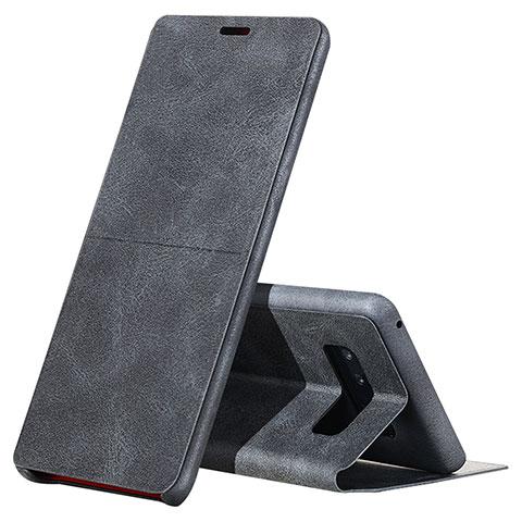 Handytasche Stand Schutzhülle Leder L04 für Samsung Galaxy Note 8 Schwarz