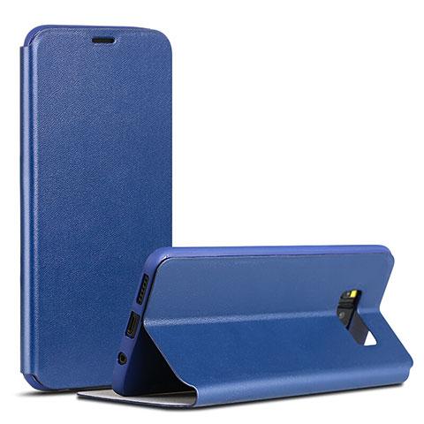 Handytasche Stand Schutzhülle Leder P01 für Samsung Galaxy S8 Blau