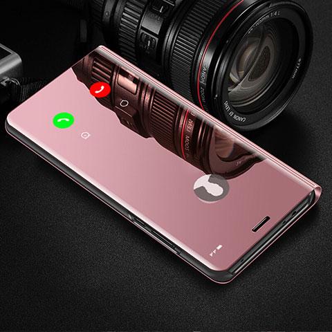 Handytasche Stand Schutzhülle Leder Rahmen Spiegel Tasche für Samsung Galaxy Note 10 Plus 5G Rosegold