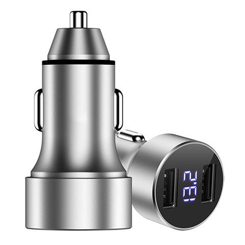 Kfz-Ladegerät Adapter 3.4A Dual USB Zweifach Stecker Fast Charge Universal Silber