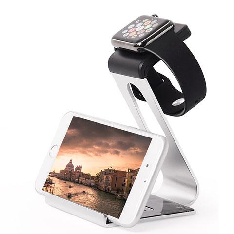 Ladegerät Dock Ladestation Ständer Halter Halterung C02 für Apple iWatch 3 38mm Silber