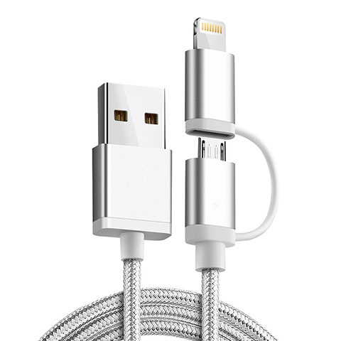 Lightning USB Ladekabel Kabel Android Micro USB C01 für Apple iPhone 11 Pro Silber