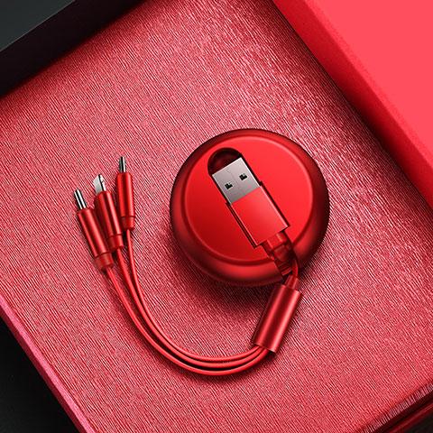 Lightning USB Ladekabel Kabel Android Micro USB C09 für Apple iPhone 11 Pro Rot