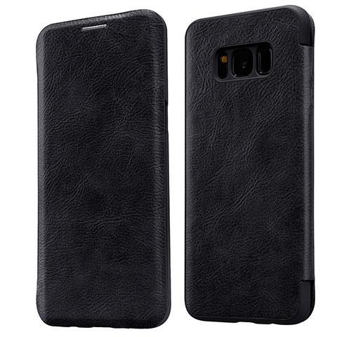 Schutzhülle Stand Tasche Leder L01 für Samsung Galaxy S8 Schwarz