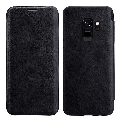 Schutzhülle Stand Tasche Leder L01 für Samsung Galaxy S9 Schwarz