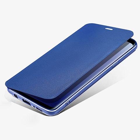 Schutzhülle Stand Tasche Leder L02 für Samsung Galaxy S9 Blau