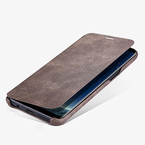 Schutzhülle Stand Tasche Leder L03 für Samsung Galaxy S8 Plus Braun