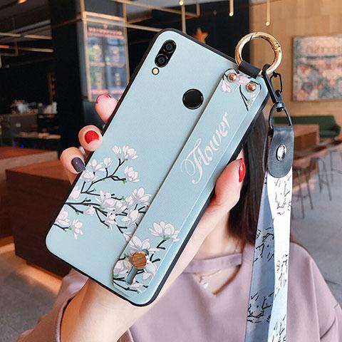 Silikon Hülle Handyhülle Gummi Schutzhülle Blumen für Huawei Honor 8X Cyan