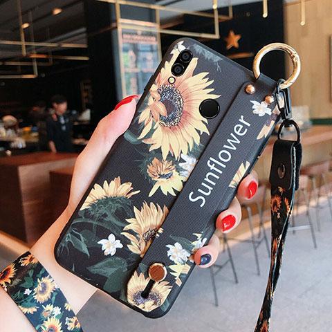 Silikon Hülle Handyhülle Gummi Schutzhülle Blumen für Huawei Honor 8X Schwarz