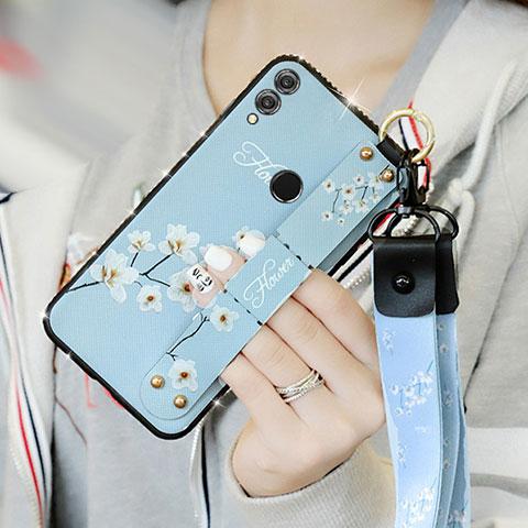 Silikon Hülle Handyhülle Gummi Schutzhülle Blumen S01 für Huawei Honor 8X Hellblau