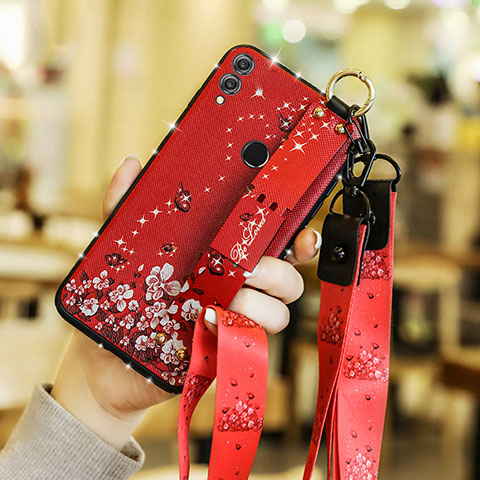 Silikon Hülle Handyhülle Gummi Schutzhülle Blumen S01 für Huawei Honor 8X Rot