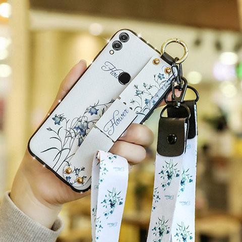 Silikon Hülle Handyhülle Gummi Schutzhülle Blumen S01 für Huawei Honor 8X Weiß