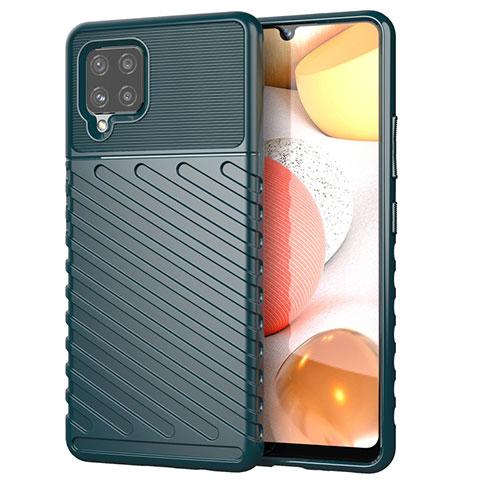 Silikon Hülle Handyhülle Gummi Schutzhülle Flexible Tasche Köper S01 für Samsung Galaxy A42 5G Nachtgrün