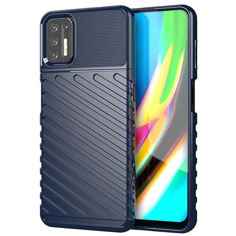 Silikon Hülle Handyhülle Gummi Schutzhülle Flexible Tasche Line für Motorola Moto G9 Plus Blau