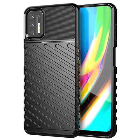 Silikon Hülle Handyhülle Gummi Schutzhülle Flexible Tasche Line für Motorola Moto G9 Plus Schwarz