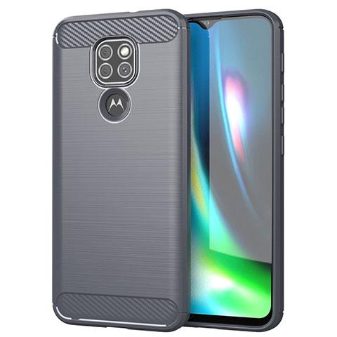 Silikon Hülle Handyhülle Gummi Schutzhülle Flexible Tasche Line S01 für Motorola Moto G9 Grau