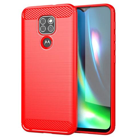 Silikon Hülle Handyhülle Gummi Schutzhülle Flexible Tasche Line S01 für Motorola Moto G9 Play Rot