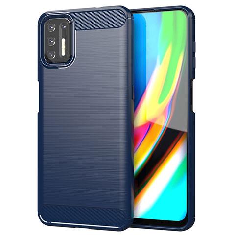 Silikon Hülle Handyhülle Gummi Schutzhülle Flexible Tasche Line S01 für Motorola Moto G9 Plus Blau