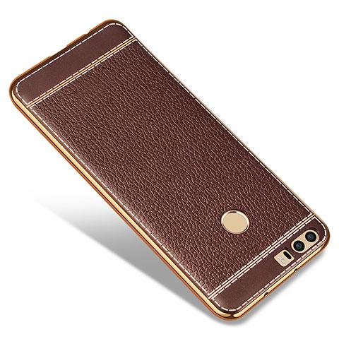 Silikon Hülle Handyhülle Gummi Schutzhülle Leder für Huawei Honor 8 Braun