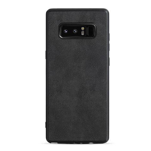 Silikon Hülle Handyhülle Gummi Schutzhülle Leder Q01 für Samsung Galaxy Note 8 Schwarz
