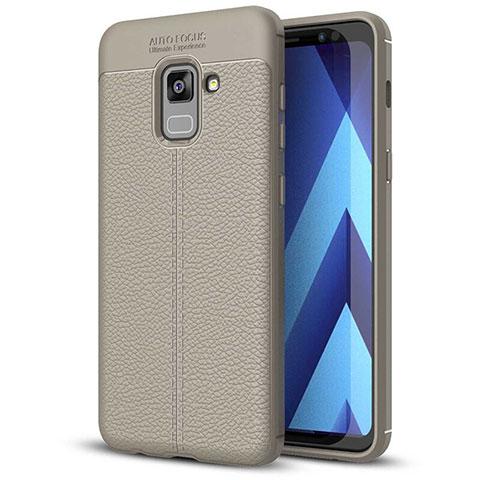 Silikon Hülle Handyhülle Gummi Schutzhülle Leder Tasche für Samsung Galaxy A5 (2018) A530F Grau