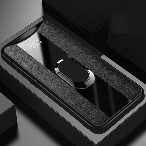 Silikon Hülle Handyhülle Gummi Schutzhülle Leder Tasche mit Magnetisch Fingerring Ständer T01 für Oppo Find X Schwarz