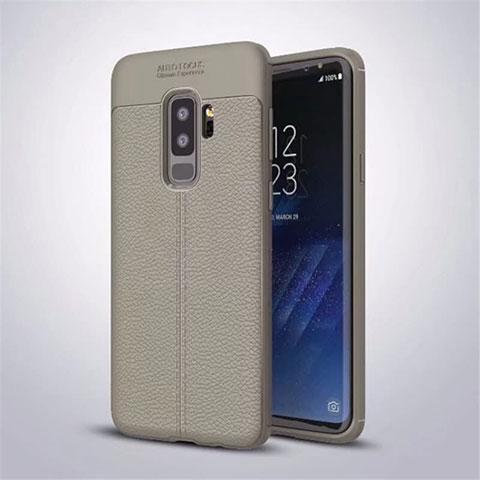 Silikon Hülle Handyhülle Gummi Schutzhülle Leder Tasche S01 für Samsung Galaxy S9 Plus Grau