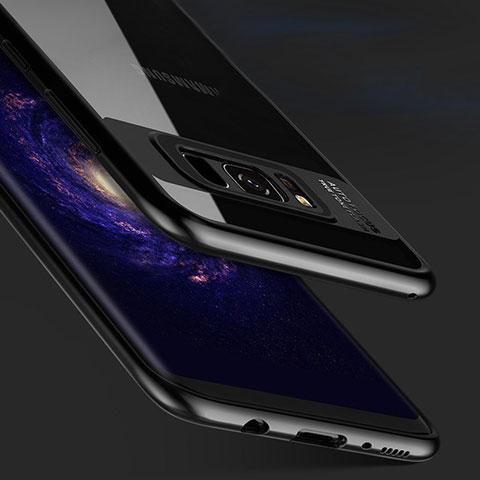 Silikon Hülle Handyhülle Rahmen Schutzhülle Durchsichtig Transparent Spiegel 360 Grad R04 für Samsung Galaxy S8 Plus Schwarz