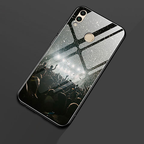 Silikon Hülle Handyhülle Rahmen Schutzhülle Spiegel Modisch Muster S01 für Huawei Honor 8X Schwarz