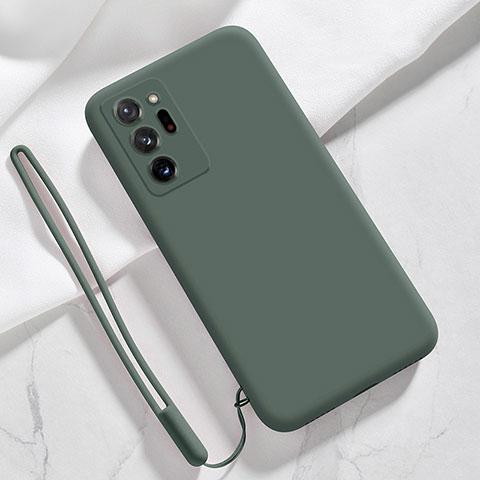 Silikon Hülle Handyhülle Ultra Dünn Flexible Schutzhülle 360 Grad Ganzkörper Tasche N03 für Samsung Galaxy Note 20 Ultra 5G Nachtgrün