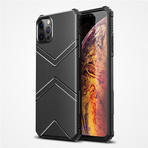 Silikon Hülle Handyhülle Ultra Dünn Flexible Schutzhülle 360 Grad Ganzkörper Tasche S02 für Apple iPhone 12 Pro Max Schwarz