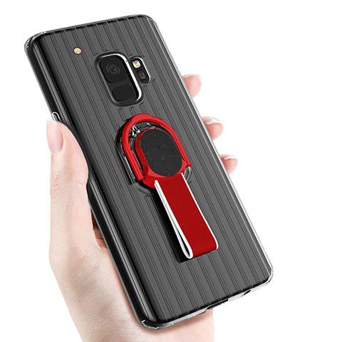 Silikon Hülle Handyhülle Ultra Dünn Schutzhülle Silikon mit Magnetisch Fingerring Ständer für Samsung Galaxy S9 Schwarz
