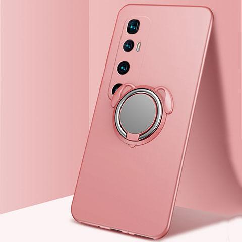 Silikon Hülle Handyhülle Ultra Dünn Schutzhülle Tasche Flexible mit Magnetisch Fingerring Ständer A01 für Xiaomi Mi 10 Ultra Rosegold