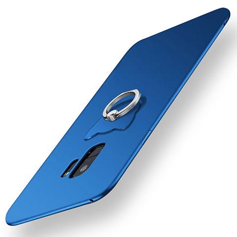 Silikon Hülle Handyhülle Ultra Dünn Schutzhülle Tasche Silikon mit Fingerring Ständer für Samsung Galaxy S9 Blau