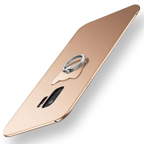 Silikon Hülle Handyhülle Ultra Dünn Schutzhülle Tasche Silikon mit Fingerring Ständer für Samsung Galaxy S9 Gold