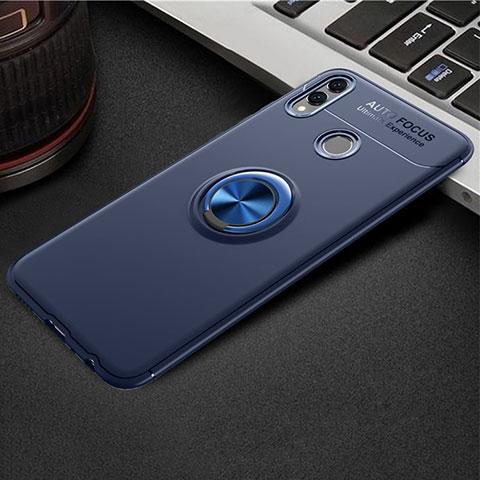 Silikon Hülle Handyhülle Ultra Dünn Schutzhülle Tasche Silikon mit Magnetisch Fingerring Ständer A01 für Huawei Honor 8X Blau