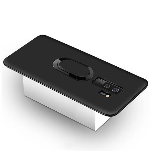 Silikon Hülle Handyhülle Ultra Dünn Schutzhülle Tasche Silikon mit Magnetisch Fingerring Ständer für Samsung Galaxy S9 Plus Schwarz