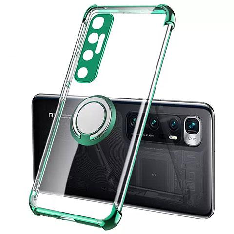 Silikon Hülle Handyhülle Ultradünn Schutzhülle Flexible Tasche Durchsichtig Transparent mit Magnetisch Fingerring Ständer S01 für Xiaomi Mi 10 Ultra Grün
