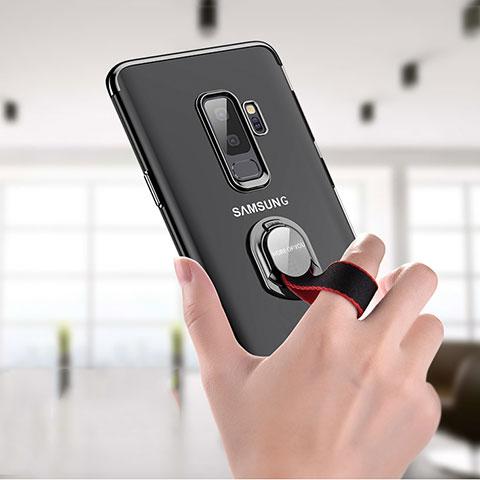 Silikon Hülle Handyhülle Ultradünn Tasche Durchsichtig Transparent mit Fingerring Ständer T01 für Samsung Galaxy S9 Plus Klar