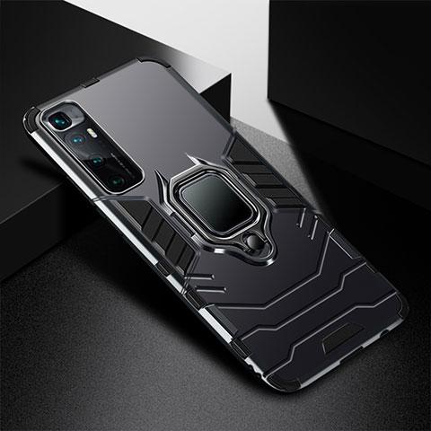 Silikon Hülle Handyhülle und Kunststoff Schutzhülle Hartschalen Tasche mit Magnetisch Fingerring Ständer S01 für Xiaomi Mi 10 Ultra Schwarz
