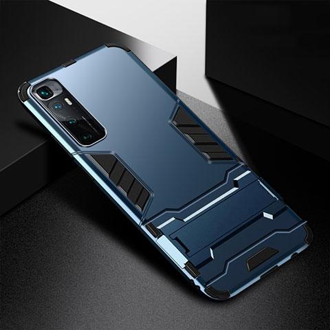 Silikon Hülle Handyhülle und Kunststoff Schutzhülle Hartschalen Tasche mit Ständer A01 für Xiaomi Mi 10 Ultra Blau