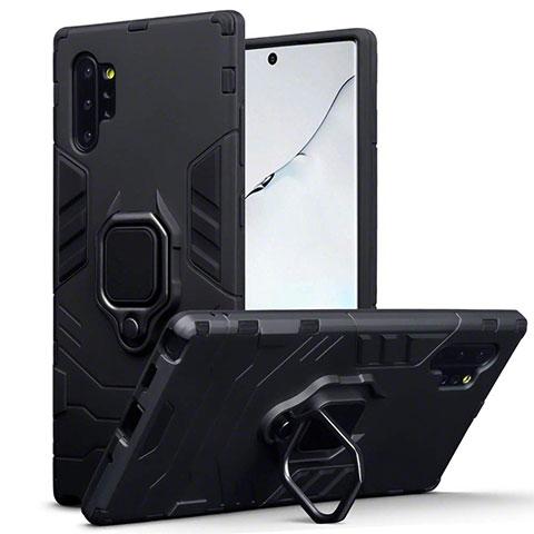 Silikon Hülle Handyhülle und Kunststoff Schutzhülle Tasche mit Magnetisch Ständer A03 für Samsung Galaxy Note 10 Plus 5G Schwarz