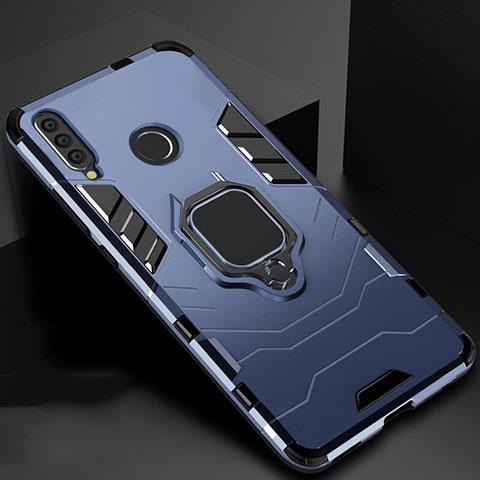 Silikon Hülle Handyhülle und Kunststoff Schutzhülle Tasche mit Magnetisch Ständer für Huawei Honor 20 Lite Blau