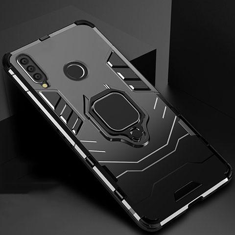 Silikon Hülle Handyhülle und Kunststoff Schutzhülle Tasche mit Magnetisch Ständer für Huawei Honor 20 Lite Schwarz