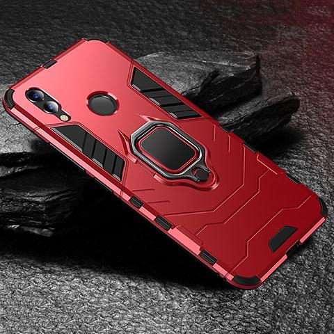 Silikon Hülle Handyhülle und Kunststoff Schutzhülle Tasche mit Ständer für Huawei Honor 8X Rot