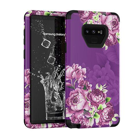 Silikon Hülle Handyhülle und Kunststoff Schutzhülle Tasche Vorder und Rückseite 360 Grad U01 für Samsung Galaxy Note 9 Violett