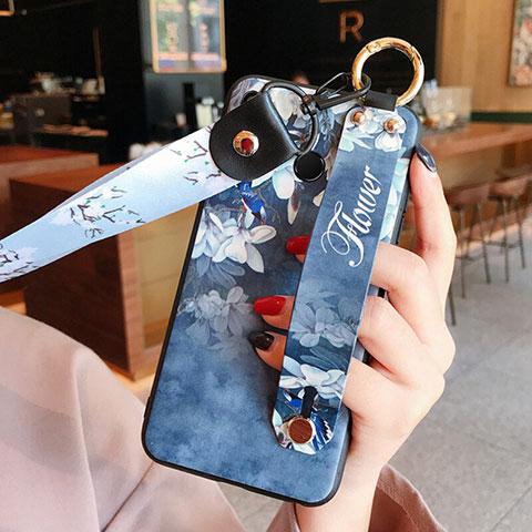 Silikon Schutzhülle Gummi Tasche Blumen für Huawei Honor 8X Blau