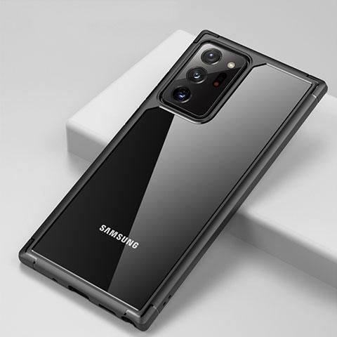 Silikon Schutzhülle Rahmen Tasche Hülle Durchsichtig Transparent Spiegel H02 für Samsung Galaxy Note 20 Ultra 5G Schwarz